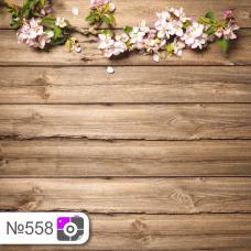 Фотофон Цветы вишни на коричневых досках