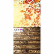 Фотофон Осенние листья и темно-коричневые доски