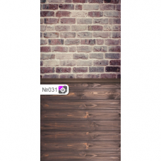 Фотофон Коричневый кирпич и темно-коричневые доски