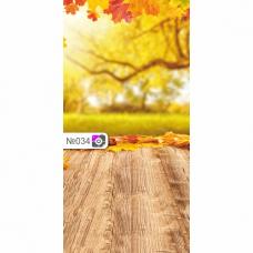 Фотофон Осенние деревья и коричневые доски
