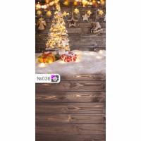 Фотофон Новогодняя елка и коричневые доски