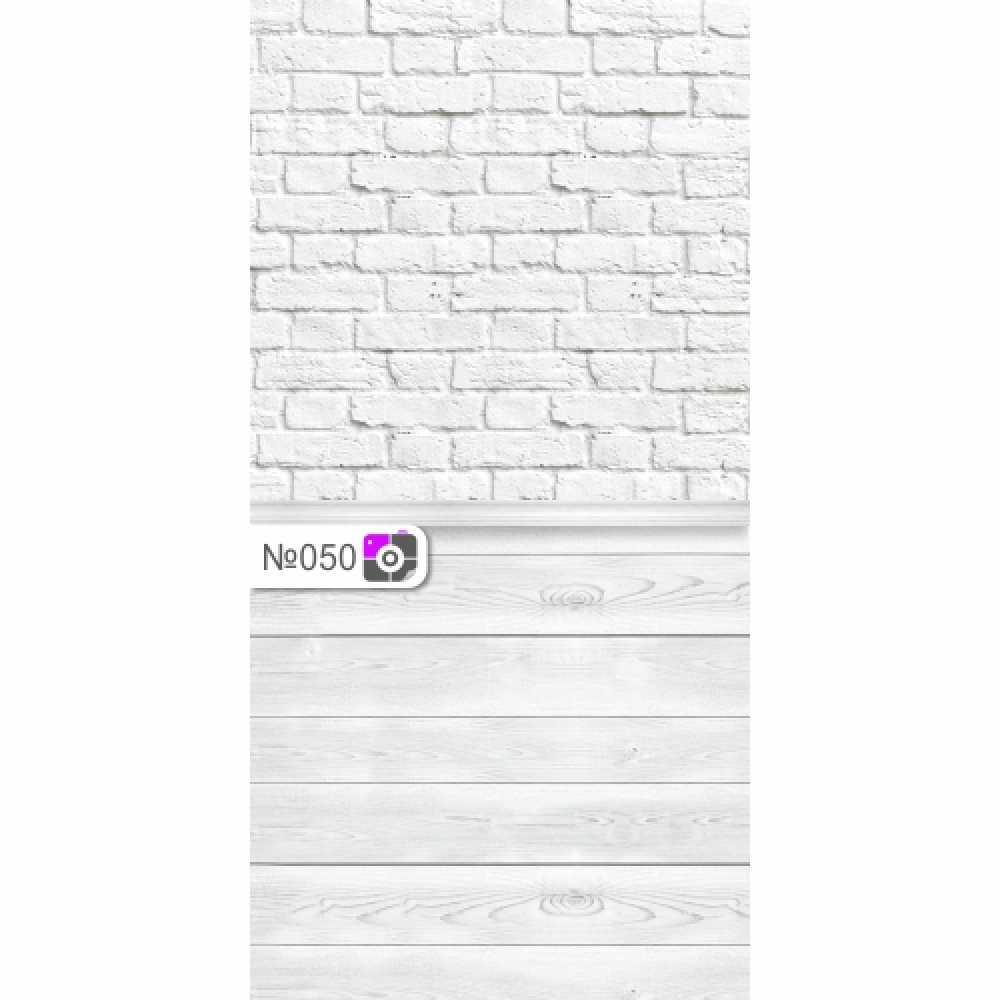 Фотофон Старый белый кирпич и белые доски