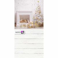 Фотофон Камин елка и белые доски