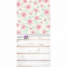 Фотофон Обои с цветами и потертые белые доски