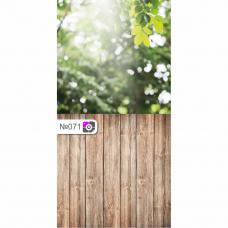 Фотофон Лес деревья и коричневые доски